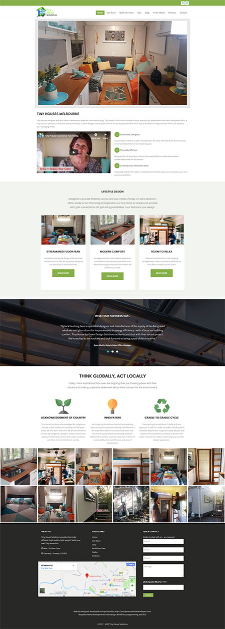 website for tiny house builder developed by WordPress web designer